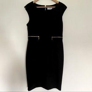 Calvin Klein Dress Black Gold Zippers Sheath